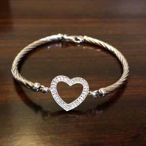 Jewelry - Sterling Silver Genuine Diamond Heart Bracelet